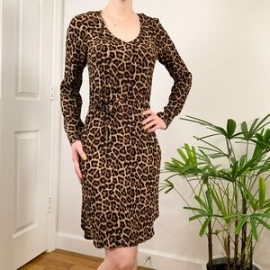 H&M Leopard Print Long Sleeve Waist Dress Size 0